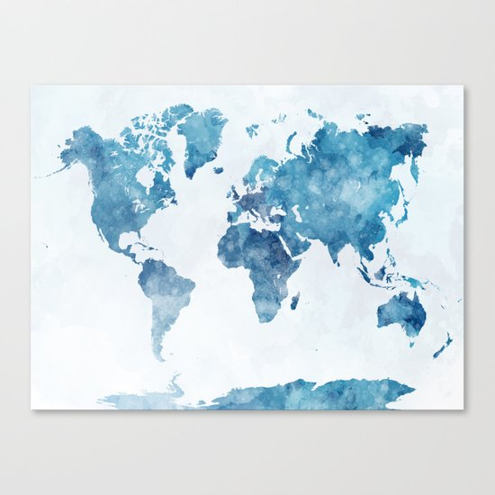 World map in watercolor. Canvas Print