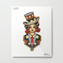 American Traditional Patriotic Girl Tattoo Flash Metal Print