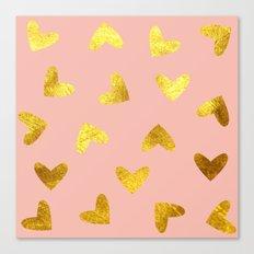 gold heart pattern pink Canvas Print