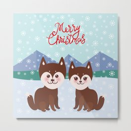 Merry Christmas New Year's card design Kawaii funny brown husky dog Metal Print