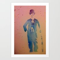 chaplin Art Prints featuring Chaplin by Anaasofiac