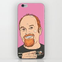louis ck iPhone & iPod Skins featuring Louis CK With Sushi by Jason Adams