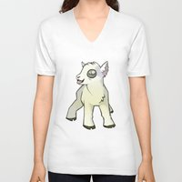 lamb V-neck T-shirts featuring Lamb by Suzanne Annaars