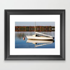 Sailboat on Quiet Lake in Autumn Framed Art Print