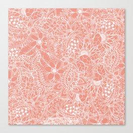 Modern trendy white floral lace hand drawn pattern orange pink Canvas Print