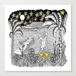 Beach Dancing under Stars Zentangle Style Canvas Print