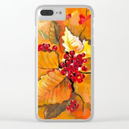 Autumn / Fall Painting - Berries and Changing Leaves Art Clear iPhone Case