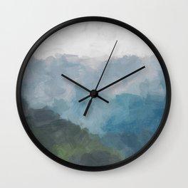 Abstract Painting, Gray, Blue, Navy, and Green Nature Mountain Hiking Print, Modern Wall Art Decor Wall Clock