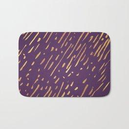 Dark Purple Gold Stripes Bath Mat