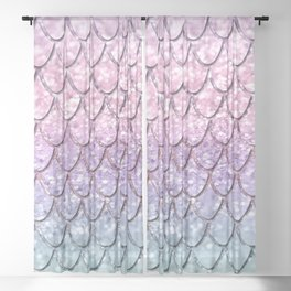 Mermaid Scales on Unicorn Girls Glitter #1 #shiny #pastel #decor #art #society6 Sheer Curtain