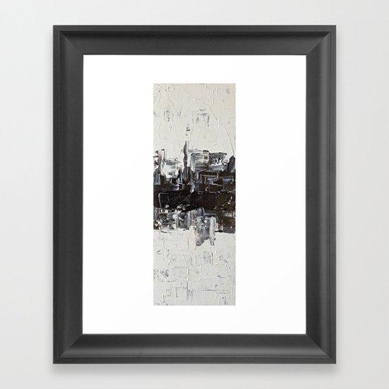 Flatline - black & white abstract painting Framed Art Print