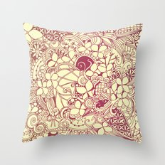 Yellow square, pink floral doodle, zentangle inspired art pattern Throw Pillow