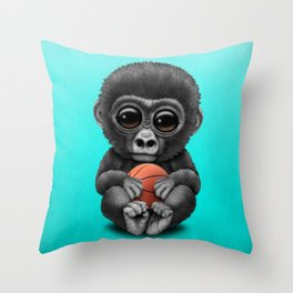 Cute Baby Gorilla Playing With Basketball Throw Pillow