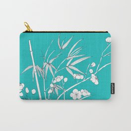 bamboo and plum flower white on blue Carry-All Pouch