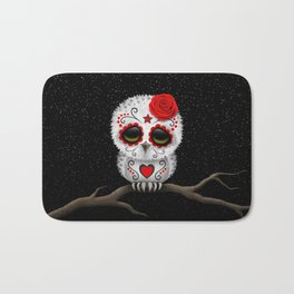 Adorable Red Day of the Dead Sugar Skull Owl Bath Mat