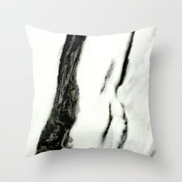 Ebony White Marble With Captivating Black Veins Throw Pillow