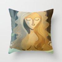 pagan Throw Pillows featuring Sad Pagan by Anniz