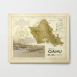 The Island of O'ahu [Waikiki / Diamond Head] Vintage inspired Road Map Metal Print