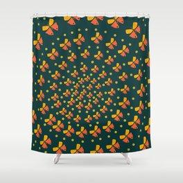 Butterflies in spiral Shower Curtain
