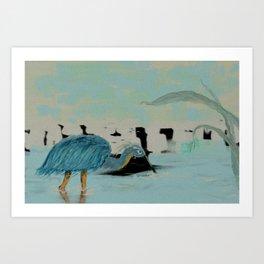 Water Hunter in a Overcast Dusk Art Print