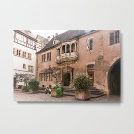"Travel Photography ""picturesque Colmar"" Haute-Rhin, Alsace, France, pastel Building Metal Print"