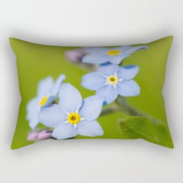 Forget-me-not Flowers On Natural Green Bokeh Background #decor #society6 #buyart Rectangular Pillow
