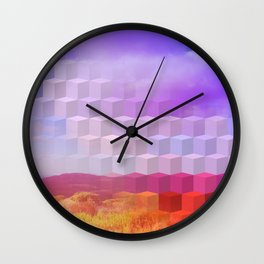 Ultra Surreal Countryside Violet Rainbow Wall Clock