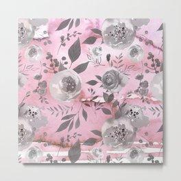 berry juice floral watercolor pink gray Metal Print