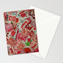 Vintage Postage Stamp Collection - Red Stationery Cards