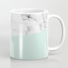 Real White marble Half pastel Mint Green Coffee Mug