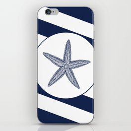 Nautical Starfish Navy Blue & White Stripes Beach iPhone Skin