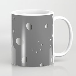 Glowing drops and petals on a gray background in nacre. Coffee Mug