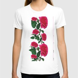 DECORATIVE CLIMBING PINK ROSES ON WHITE ART T-shirt