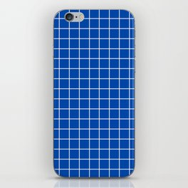 Cobalt blue - blue color -  White Lines Grid Pattern iPhone Skin