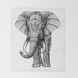 Ornate Elephant Throw Blanket