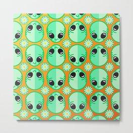 Happy Alien and Daisy Nineties Grunge Pattern Metal Print