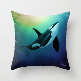 """""""The Dreamer Ascends"""" by artist Amber Marine ~ (Copyright 2015) ~ Orca / Killer Whale Art Throw Pillow"""
