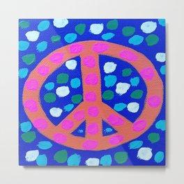 Orange Peace Symbol on Blue Metal Print