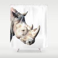 rhino Shower Curtains featuring RHINO by Anne Hviid Nicolaisen