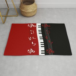 Stylish red. black and white piano keys and musical notes Rug