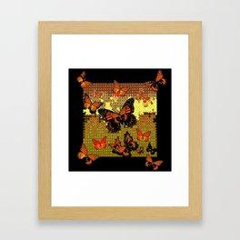 Abstracted Black & Orange Monarch Butterflies Framed Art Print