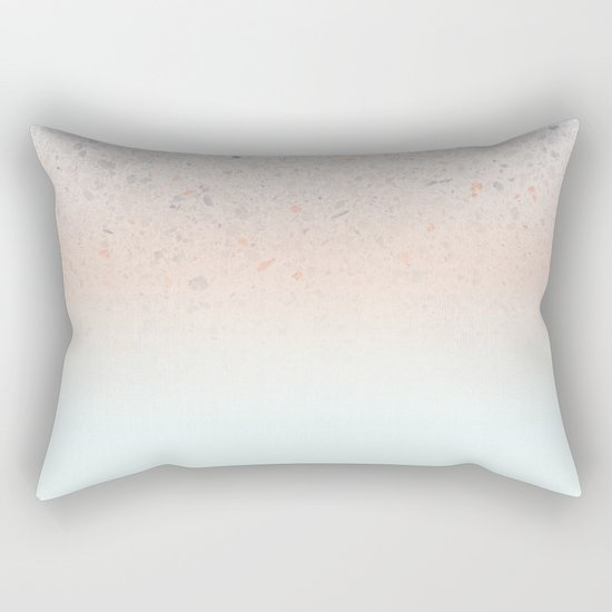 Terrazzo Pastel Colors Soft Fading Gradient Peach+Baby Blue Rectangular Pillow