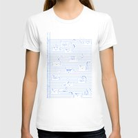 notebook T-shirts featuring Fuzzy Homework {clean} by Tobe Fonseca