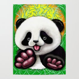 Panda Baby Bear Cute and Happy Poster