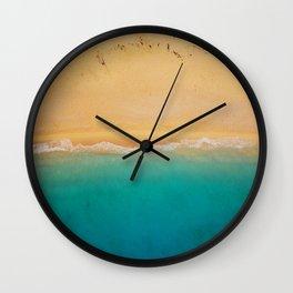 turquoise ocean wave sandy beach Wall Clock