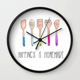 Spoons - Happiness is Homemade, Kitchenart, homecooks, chefart Wall Clock