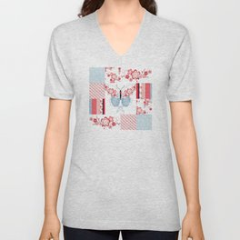 Cherry Blossom Butterfly Collection Unisex V-Neck