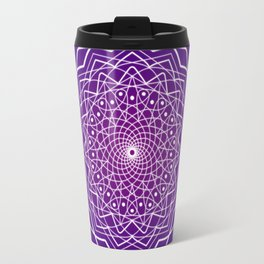 Purple and White Spiral Mandala Travel Mug
