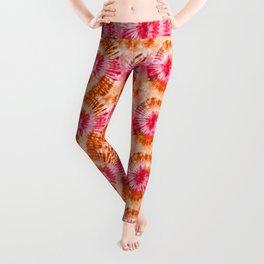Summer Vibes Tie Dye Spirals Magenta Orange Leggings