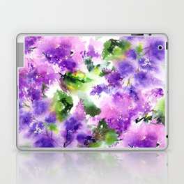 Lilac flowers. Watercolor lilac blossom. Violet florals. Laptop & iPad Skin